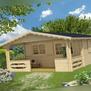 TOPGARDEN Gartenhaus CAROLA Premium 5x5 m + 2m Terrasse, 45mm Bohlen, Boden+ISO