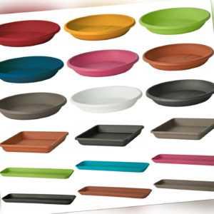 9 Farben und 26 Größen Untersetzer in rund und eckig für Blumentopf Kasten Kübel