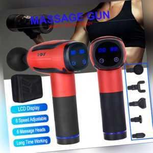 Elektrisch Massagepistole Muskel Entspannung Massage Gun Massagegerät + 6 Köpfe