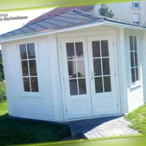 5 Eck Gartenhaus Blockhaus 3x3M 5-Eckige Holz Pavillon, 28mm, Leonie EB28029F18