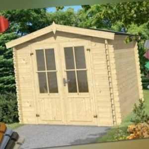 Lasita Gartenhaus Los Angeles Gerätehaus Metall XXL Holz Blockhaus 230x180cm