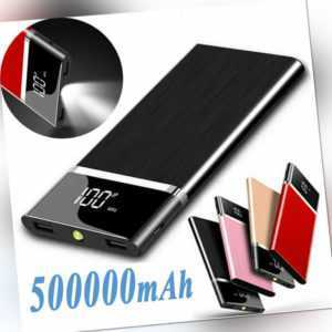 500000mAh tragbare PowerBank 2USB Externer Ladegerät Zusatzakku Charger Batterie