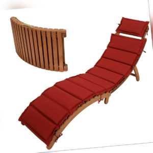 Gartenliege Sonnenliege Klappliege Liege IPANEMA Akazie Holz mit Auflage rot
