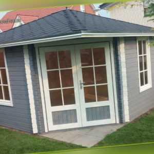 5-Eck Gartenhaus Blockhaus mit ISO, 4x4M 5-Eckige aus 40mm, Gerd