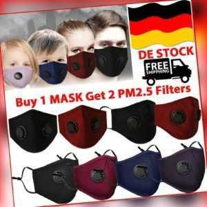 Maske Mundschutz mit Ventil Aktivkohle Filter PM2.5 Waschbar Schutzmaske Mehrweg