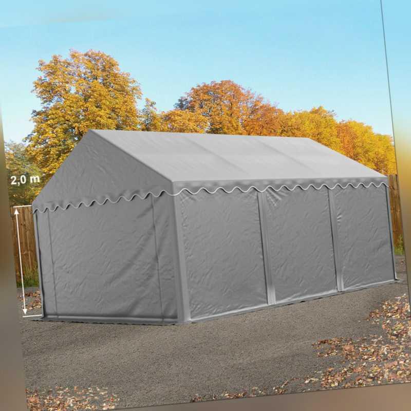 Lagerzelt 4x6m Weidezelt Zelthalle Unterstand wasserdicht PVC 500g/m² Zelt grau