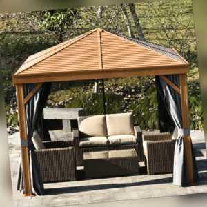 Pavillon Partyzelt Festzelt Gartenlaube mit Seitenwände Stahldach Aluminium Grau