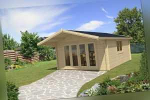 TOPGARDEN Gartenhaus Premium 4x5m Camilla + 1,5m Vordach, 70mm, Falttür, +Boden