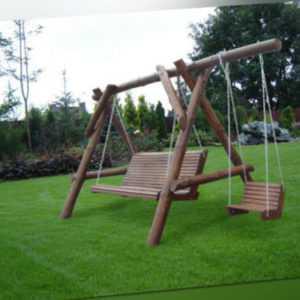 Gartenschaukel Hollywoodschaukel Gartenmöbel Naturholz KORSIKA 3 Sitzer +1 Sitz