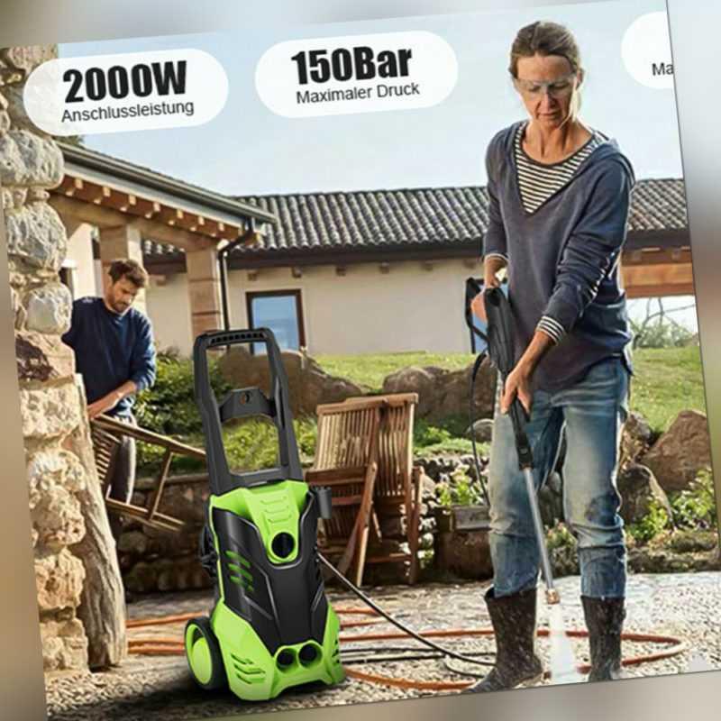 Hochdruckreiniger Elektro 2000W 150 bar IPX5 Flächenreiniger Bürsten +Zubehör DE