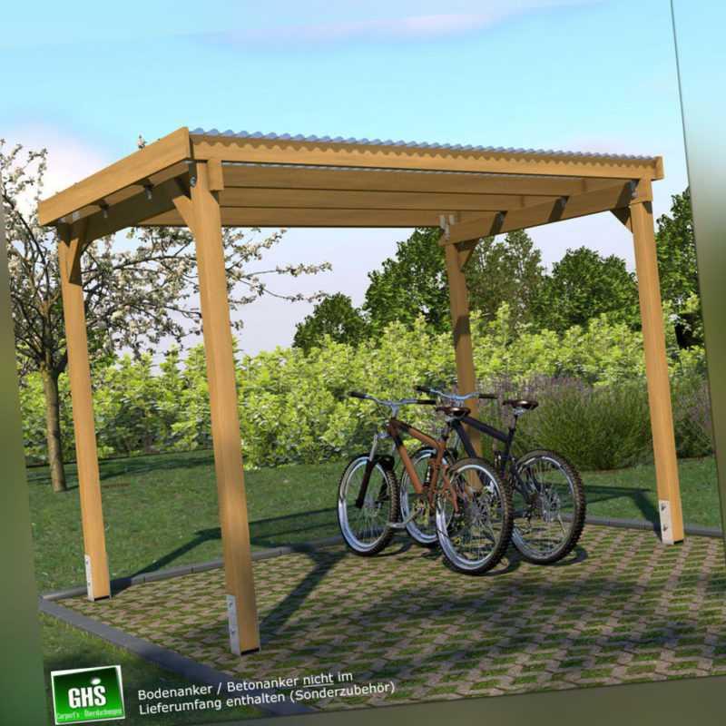 Unterstand 3x2 m Fahrrad + Motorrad, Überdachung für Gartengeräte + Gartenmöbel
