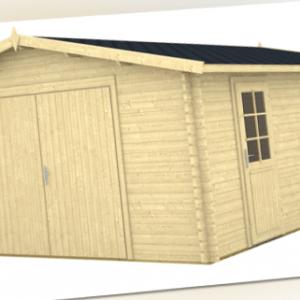 Holzgarage Garage 40-B, 4,70x5,70m Blockbohlengarage mit Holztor Blockbohlen 40