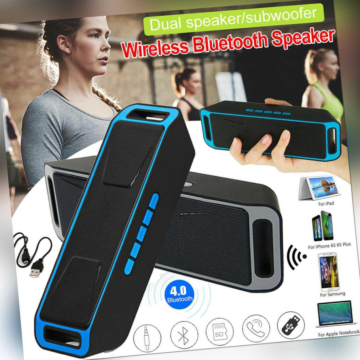 Bluetooth Lautsprecher Musik box Stereo Wireless Subwoofer SD AUX USB MP3 Radio