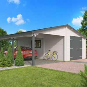 70mm Garage + Carport 765x830cm Holzgarage Unterstand Gerätehaus Holz Gartenhaus
