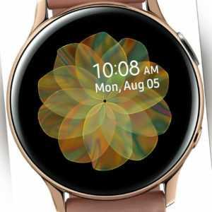 SAMSUNG Galaxy Watch Active2  40mm Smartwatch Edelstahl Echtleder, S/M, Gold