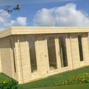 Gartenhaus Flachdach Oriental 5 TENE 40 mm, 470 x 320 cm inkl. Fußboden, 2 Räume