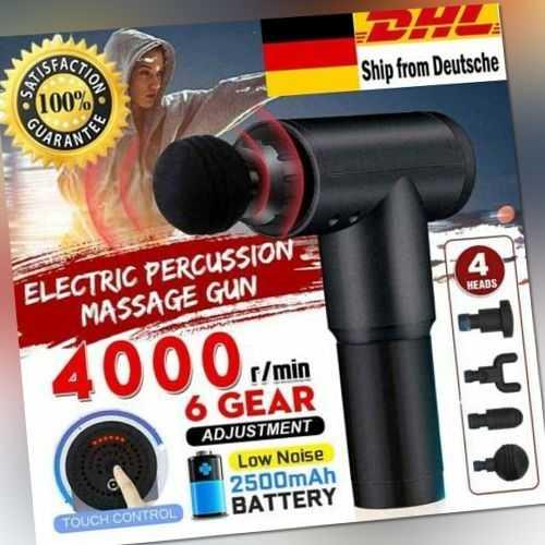 Elektrisch Massagepistole Muskel Entspannung Gun Massagegerät mit 4/6 köpfen