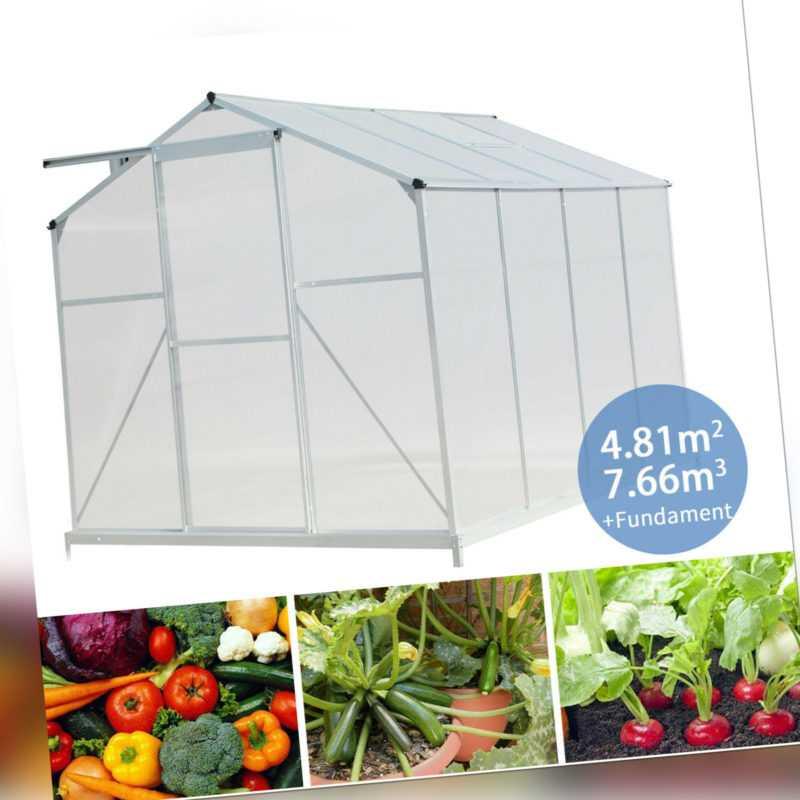 Gewächshaus inkl Fundament Garten Treibhaus Tomatenhaus Frühbeet 3,83m³-7,66m³