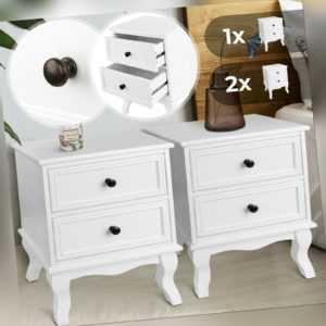 Nachttisch Holz Weiß Nachtschrank Kommode Ablagetisch Nachtkonsole Vintage