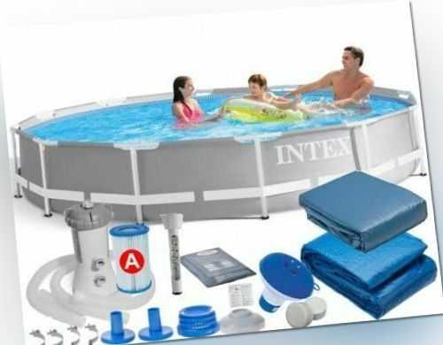 7 in 1 Frame Pool Schwimmbecken mit Filterpumpe 366 x 76 cm Pool 26712 INTEX