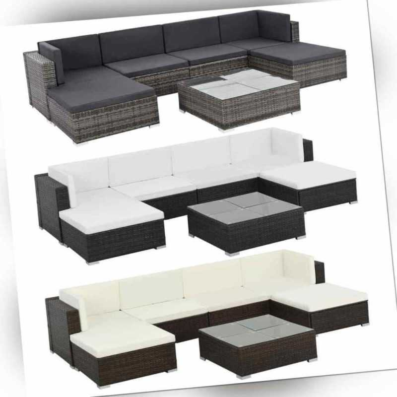 vidaXL Gartenmöbel 19-tlg. Poly Rattan Sofa Lounge Sitzgruppe mehrere Auswahl