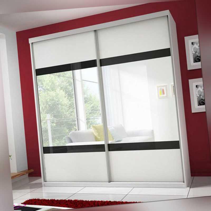 Schwebetürenschrank Claudia 02 203 cm Spiegel Modern Kleiderschrank Schiebetüren