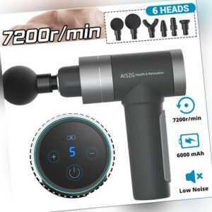 7200/min Muskel Massager Gun Massagegerät Elektrisches Massagepistole 6 Köpfe DE