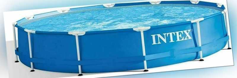 INTEX 366 x 76 Stahlwand Frame Swimming Pool Schwimmbecken Rund Schwimmbad TOP
