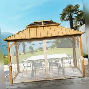 Outsunny Pavillon mit Seitenwände Partyzelt mit PC-Dach Festzelt Gartenlaube Alu