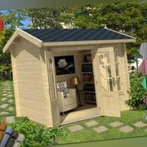 Lasita Gartenhaus Alex Mini Gerätehaus Hütte Metall XXL Blockhaus 250x200cm