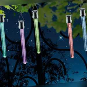 RGB LED Solarlichtstäbchen für draußen - 3er SET Hängeleuchten, Luftblasen-Optik