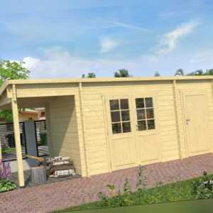 Topgarden Gartenhaus OSKAR, 602x250 cm ISO, 44 mm Doppelnut, ohne Boden