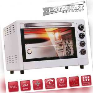 WESTCRAFT® Mini-Backofen 50L weiss 2000W Timer Miniofen Pizzaofen...