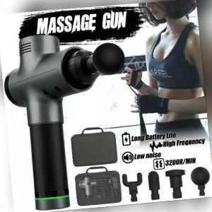 Massage Gun Massagepistole Massager Muscle Massagegerät mit 4 Köpfe Therapie