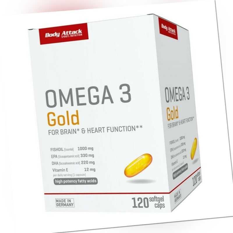 Body Attack Omega 3 Gold 120 Softgel Caps Omega 3 Fettsäuren Fischöl hochdosiert