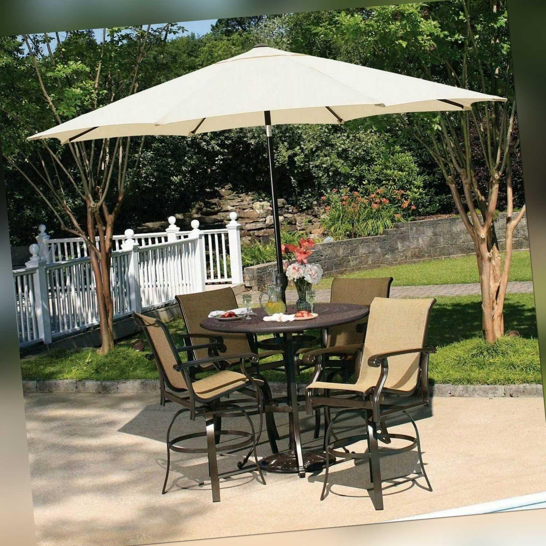 Sonnenschirm Balkonschirm ø 2,7m mit Winddach,Kurbel,UV-Schutz 50+ Marktschirm