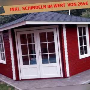 5-Eck Gartenhaus inkl. Schindeln 4x4M 5-Eckige Holz, 40mm, Gerda EB40008oTSchL