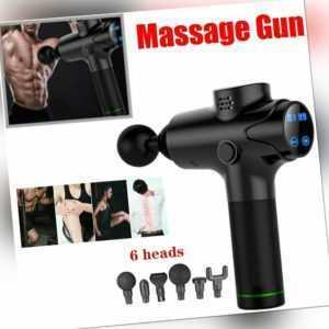 6 Köpfe Electric Massage Gun Massagepistole Massager Muscle Massagegerät mit LCD