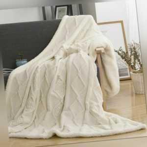 Gestrickt Überwurf Decke Chenille Lämmer Doppelschicht Betten Sofa