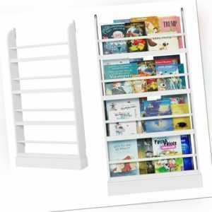 Kinderregal Bücherregal Standregal Zeitungsständer mit 4 Ablagen für Kinder weiß