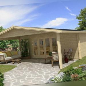 TOPGARDEN Gartenhaus Premium 6x6m Camilla + 3m Vordach, 70mm, Falttür, +Boden