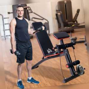 HOMCOM Multifunktion Hantelbank Kraftstation Trainingsbank Gewicht bis 120kg