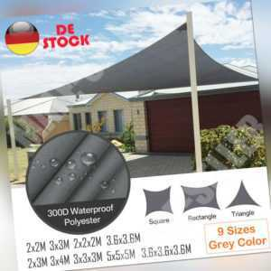 Sonnensegel WASSERDICHT Sonnenschutz Windschutz UV-Schutz Dreieck Rechteck Grau