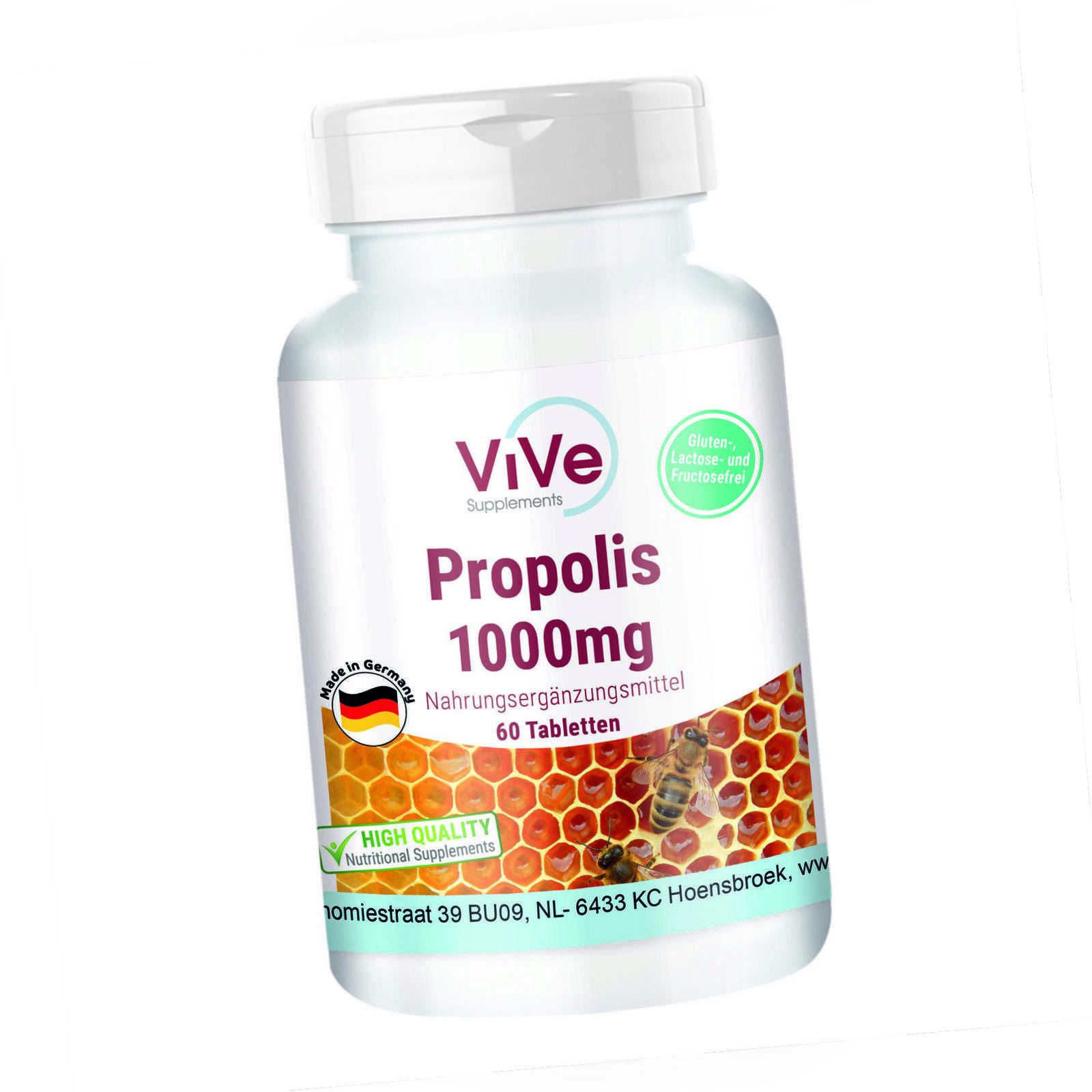 Propolis 1000mg - hochdosiert - 60 Tabletten   ViVe Supplements