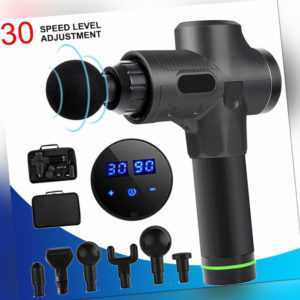 Profi Electric Massage Gun Massagepistole LCD Muscle Massagegerät mit 6 Köpfe