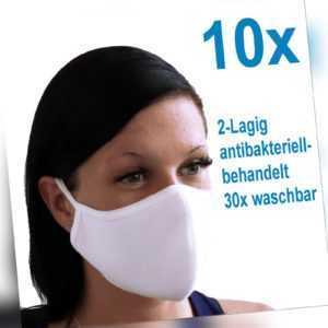 10x Behelfsmaske Gesichtsmaske WASCHBAR 2-lagig Mund Nasen Maske Alltag Schutz