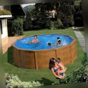 Pool Set Stahlwand Schwimmbecken Holzdekor 4,60 X 1,20m + Sandfilter