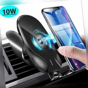 Qi Auto Wireless Charger Handy Halterung Induktions Ladegerät Clamping KFZ DE