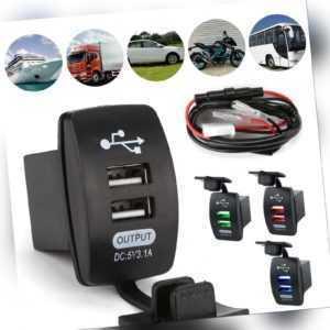 Auto Steckdose USB Ladegerät Buchse 12V/24V Für KFZ Einbau Zigarettenanzünder