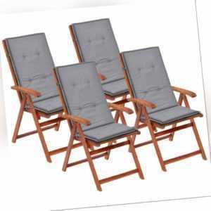 vidaXL 4x Gartenstuhl Auflage 120x50x3 cm Grau Hochlehner Sitzkissen Kissen